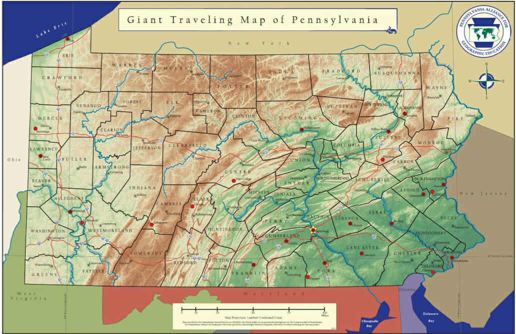 Giant Map Of PA Pennsylvania Alliance For Geographic Education - Pennyslvania map